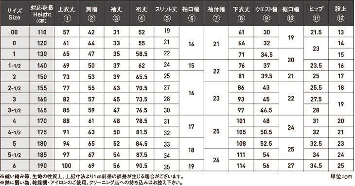 TS1サイズ表